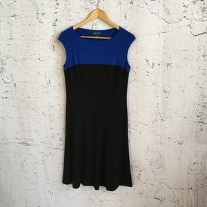 RALPH LAUREN BLACK BLUE DRESS